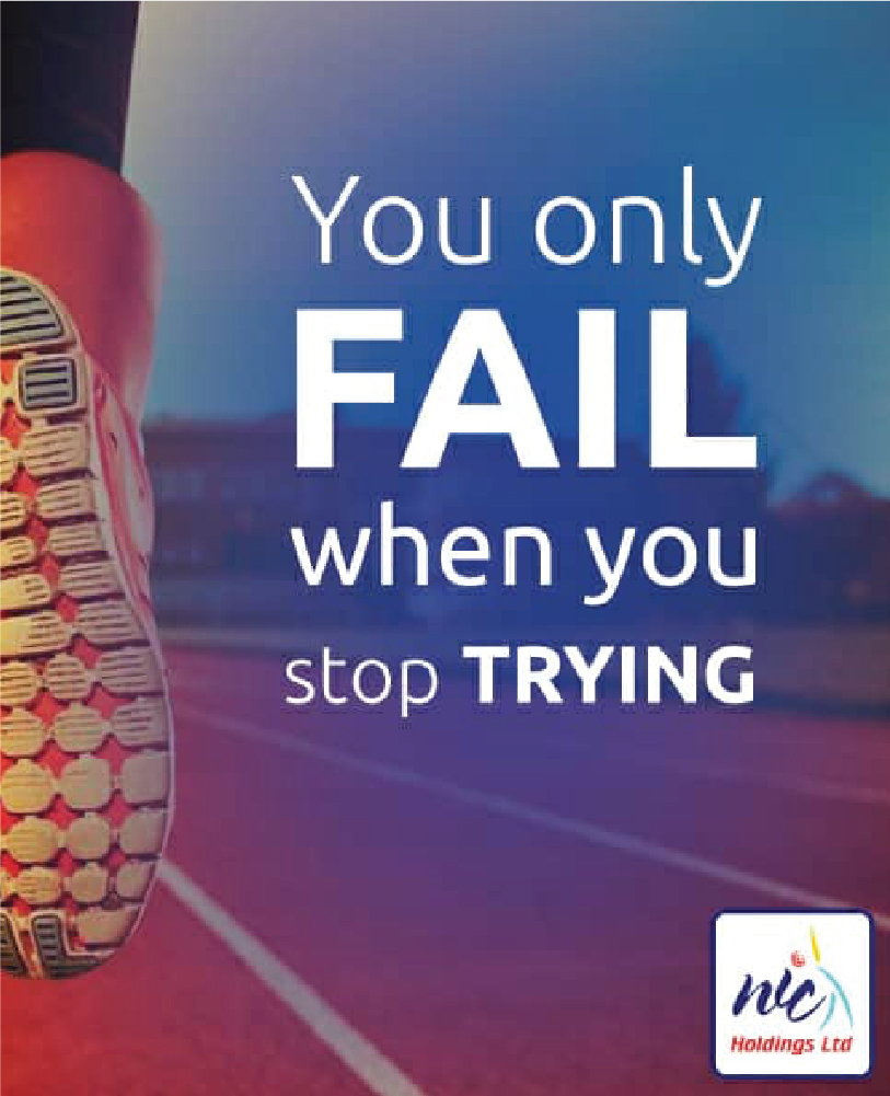 You only fail when you stop trying 1
